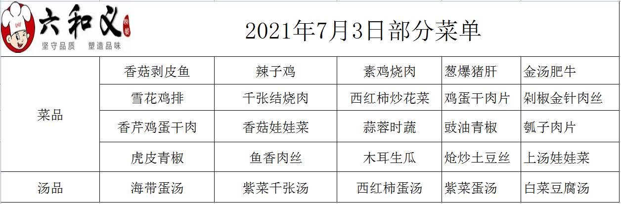 2021年7月3日部分菜单展示