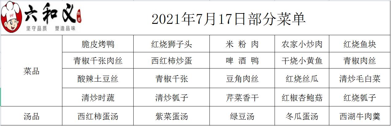 2021年7月17日部分菜单展示