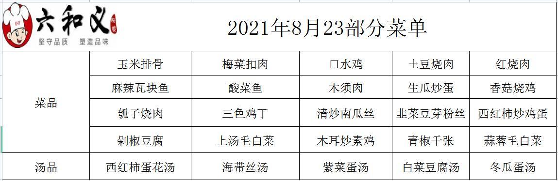 2021年8月23日部分菜单展示
