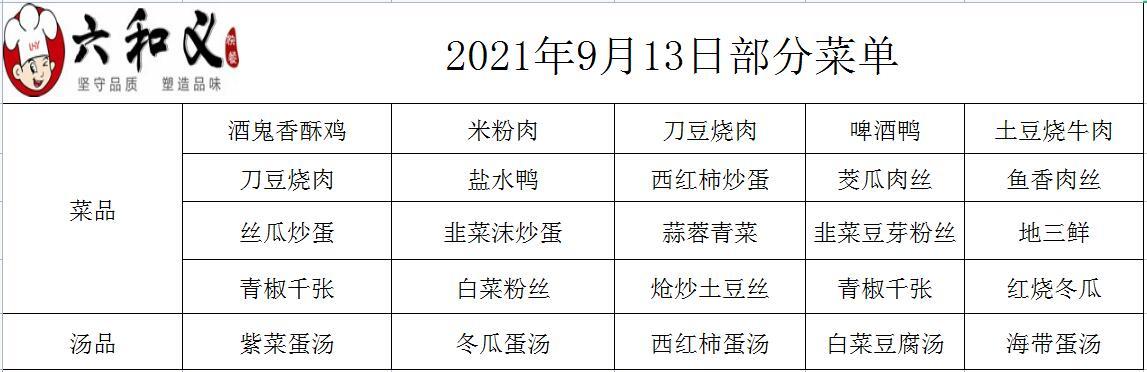 2021年9月13日部分菜单展示