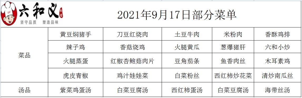 2021年9月17日部分菜单展示