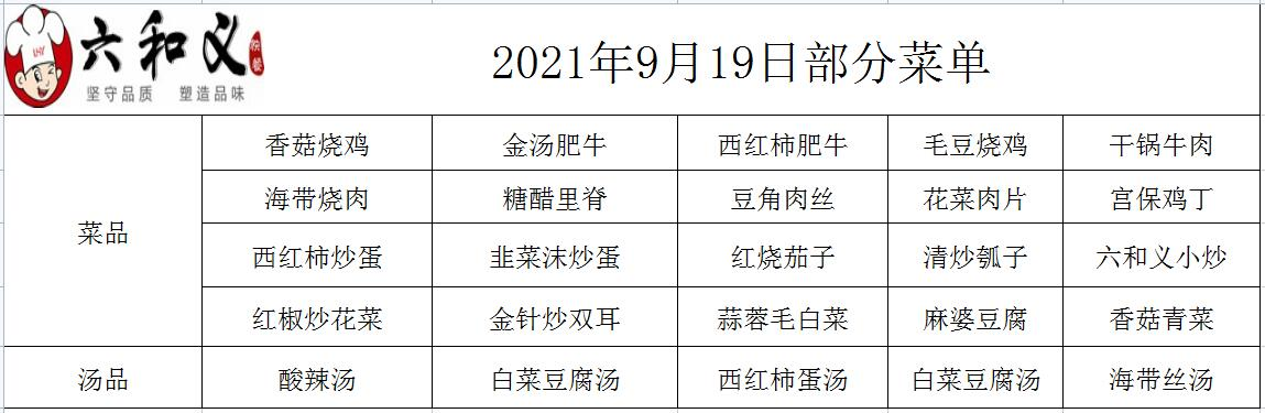 2021年9月19日部分菜单展示