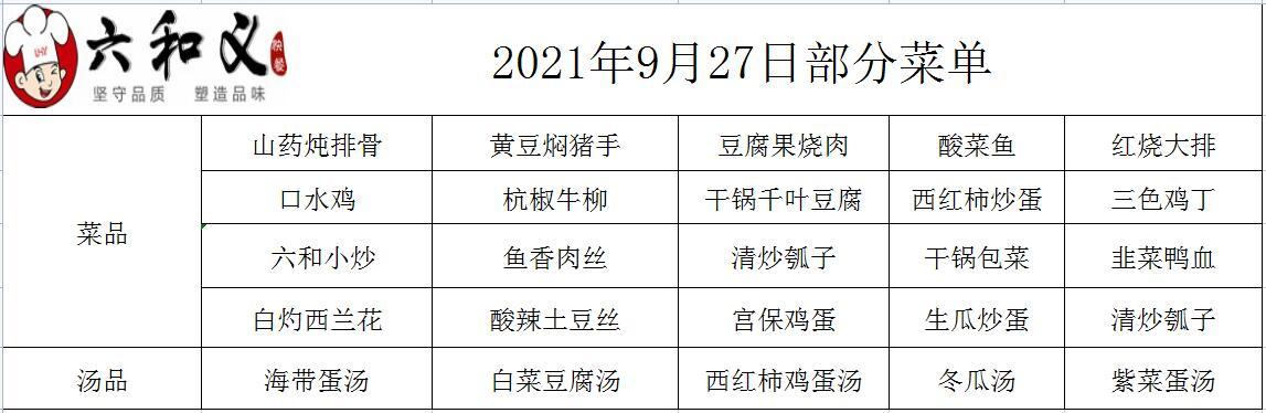 2021年9月27日部分菜单展示