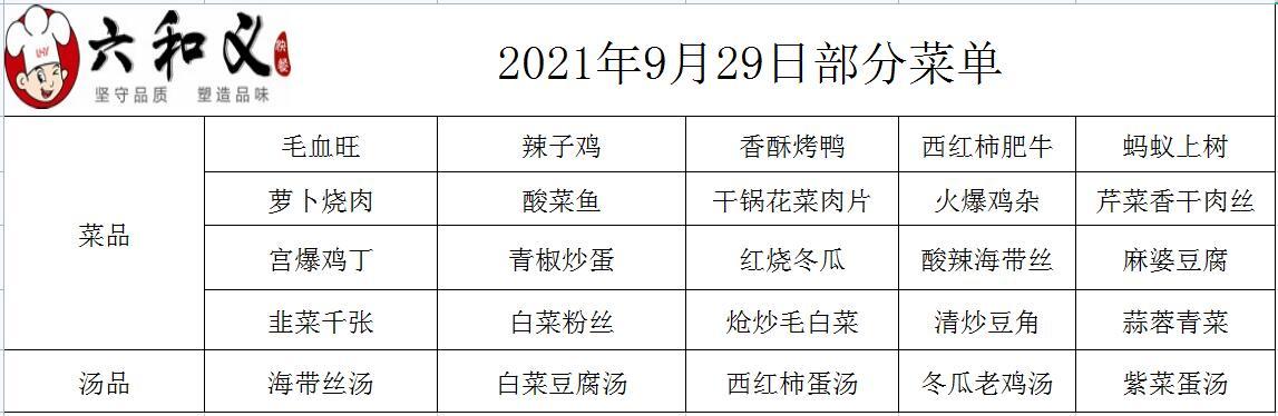 2021年9月29日部分菜单展示