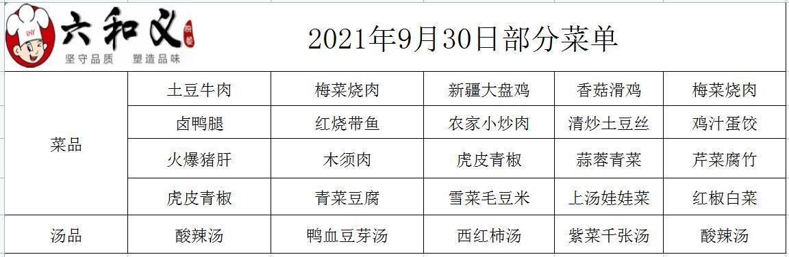 2021年9月30日部分菜单展示